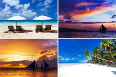 Collage of four images with sailboats and tropical sea Royalty Free Stock Photography