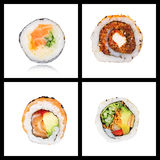 Collage of four Japanese sushi maki rolls Stock Images