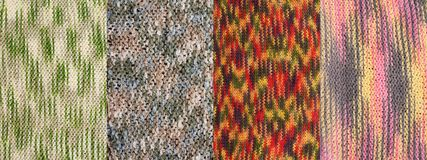 Collage from four knitted backgrounds Stock Image