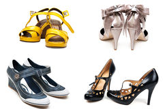 Collage from four pairs feminine loafers Stock Photo