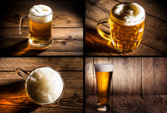 Collage of four photos beer Royalty Free Stock Images