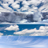 Collage of four photos on the theme of sky and clouds Royalty Free Stock Image