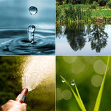 Collage of four photos on the theme of water Stock Image
