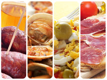 Spanish tapas and dishes collage Royalty Free Stock Image