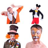 Collage of four pictures isolated: close-up portrait of smiling. And fooling around animator in various theater roles. Emotional and colorful Royalty Free Stock Photo