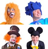 Collage of four pictures isolated: close-up portrait of smiling. And fooling around animator in various theater roles. Emotional and colorful Stock Photography