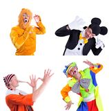 Collage of four pictures isolated: close-up portrait of smiling. And fooling around animator in various theater roles. Emotional and colorful Royalty Free Stock Images