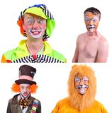 Collage of four pictures isolated: close-up portrait of smiling. And fooling around animator in various theater roles. Emotional and colorful Stock Image
