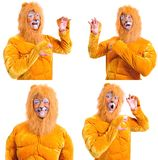 Collage of four pictures isolated: close-up portrait of smiling. And fooling around animator in various theater roles. Emotional and colorful Stock Images