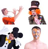 Collage of four pictures isolated: close-up portrait of smiling. And fooling around animator in various theater roles. Emotional and colorful Royalty Free Stock Photos