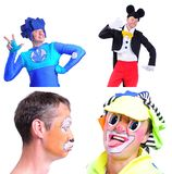 Collage of four pictures isolated: close-up portrait of smiling. And fooling around animator in various theater roles. Emotional and colorful Stock Photo