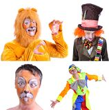 Collage of four pictures isolated: close-up portrait of smiling. And fooling around animator in various theater roles. Emotional and colorful Royalty Free Stock Photography