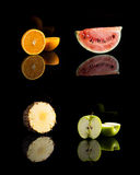 Collage of four vitamin C fruits Stock Image