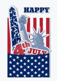 Collage for fourth july celebration USA. Statue of Liberty, flag and monument. Retro design of American symbols. Royalty Free Stock Images