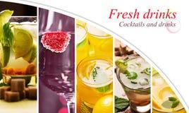 Collage från foto av drinkar royaltyfri bild