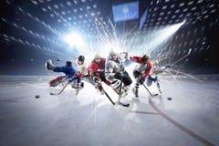 Collage från hockeyspelare i handling arkivbilder