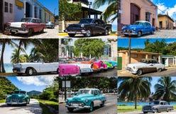Collage från Kuba med klassiska bilar Fotografering för Bildbyråer