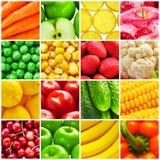 Collage från nya frukter och grönsaker Royaltyfri Bild