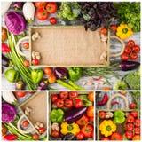Collage från olika färgrika grönsaker i trämagasinet arkivfoto