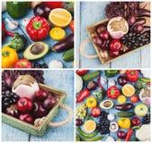 Collage från olika färgrika grönsaker och frukter på träbakgrunden royaltyfri bild