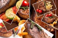 Collage från olika foto av grillat kött royaltyfri bild