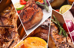 Collage från olika photoes av kött royaltyfria foton
