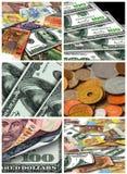 Collage från pengar av olika länder Arkivfoton