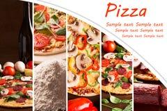 Collage från photoes av pizza royaltyfri foto