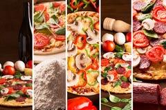 Collage från photoes av pizza arkivbild