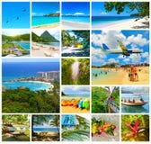 Collage från sikter av de karibiska stränderna royaltyfri foto