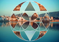 Collage with fragments of holy Pushkar city landscape, with blue color lake in India. Stock Photos