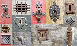 Collage of the fragments old doors. Stock Photography