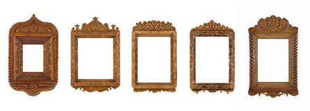 Collage - Frames for picture or portrait. Collage of wooden carved Frames for picture or portrait over white stock photo