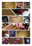 Collage of French wineries. Collage of wine label, bottles and objects of wineries Stock Image