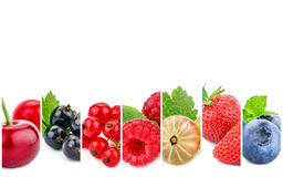 Collage from fresh berries on a white background. Abstract background stock images
