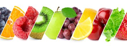 Collage of fresh ripe fruits royalty free stock images