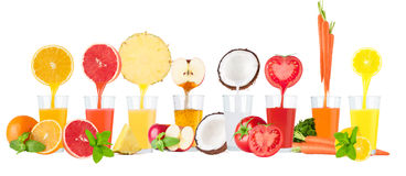 Collage of fresh fruit juices on white background. Collage of fresh fruit juices on white drops royalty free stock images