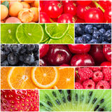 Collage with fresh fruits and berries royalty free stock image