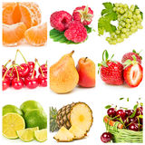 Collage of fresh fruits and berries Royalty Free Stock Photo