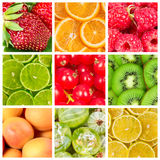 Collage of fresh  fruits Royalty Free Stock Photography