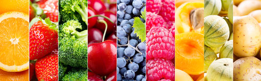 Collage of fresh fruits and vegetables. Banner Stock Photography