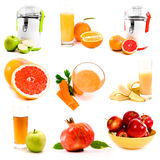 Collage of fresh juice Royalty Free Stock Photos