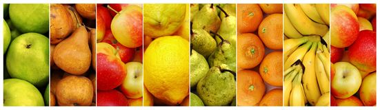 Collage of fresh juicy fruit Stock Photos