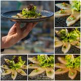 Collage. Fresh organic white tuna meat sliced at plate with sala Royalty Free Stock Photos