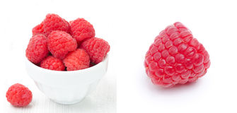 Collage with fresh raspberries Stock Image