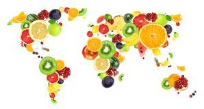 Collage of fresh fruits. World map stock photo