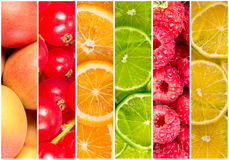 Collage of fresh summer fruit Stock Photos