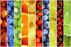 Collage of fresh summer fruit in the form of vertical stripes. Collage of fresh and ripe summer fruit in the form of vertical stripes Royalty Free Stock Photos