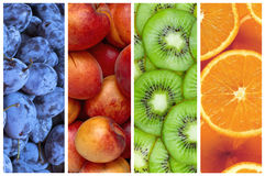 Collage of fresh summer fruit in the form of vertical stripes Stock Image