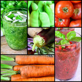 Collage of fresh vegetables. Smoothie, tomatoes, eggplants, carrots, and French beans Stock Photography